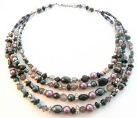 Vintage Style Multi Stranded Dark Bead And Dusky Pearl Necklace.
